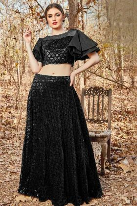 Double Layer Sleeve Blouse With Black Velvet Crop Top Pair