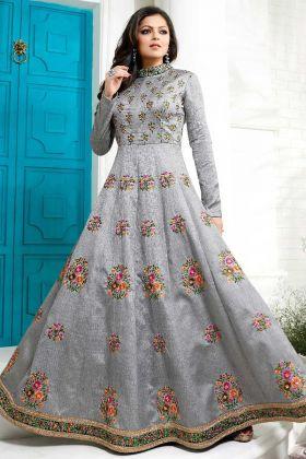 Drashti Dhami Grey Color Silk Anarkali Suit