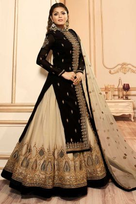 Drashti Dhami Indo Western Dress Embroidery Work In Black Color Georgette Fabric