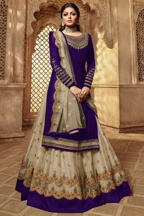 Drashti Dhami Indo Western Dress Embroidery Work In Purple Color