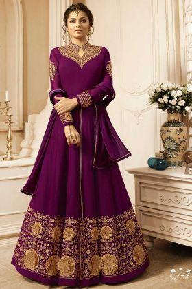 Drashti Dhami Purple Color Georgette Wedding Salwar Suit For Parties