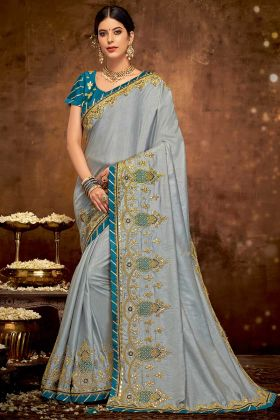 Dual Tone Silk Designer Saree Grey Color With Thread Embroidery Work
