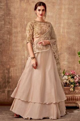 Dual Tone Silk Georgette Beige Layer Lehenga With Net Dupatta