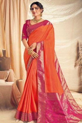 Dual Tone Silk Georgette Party Wear Saree In Orange Color