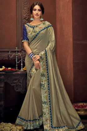Dual Tone Silk Party Wear Saree Thread Embroidery Work In Grey Color