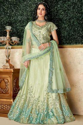 Dual Tone Taffeta Silk Party Wear Lehenga Choli Pastel Green Color With Net Dupatta