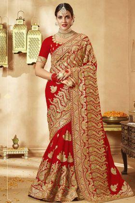 Durga Puja Special Zari Work Georgette Red Designer Saree