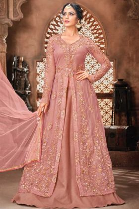 Dusrty Pink Net Fabric Party Wear Embroidery Suit