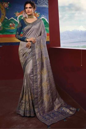 Dusty Grey Color Party Wear Raw Silk Saree