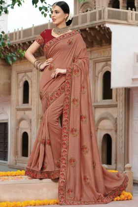 Dusty Peach Jari Embroidery Party Wear Art Silk Saree
