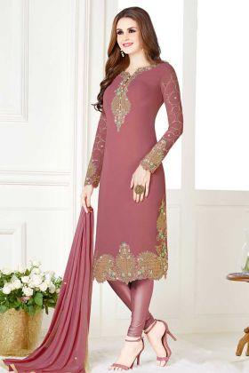 Dusty Pink Georgette Straight Cut Salwar Suit With Chiffon Dupatta