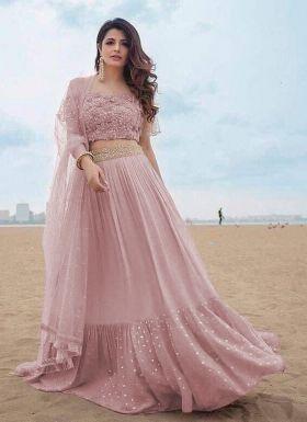 Dusty Pink Zari Embroidery Lehenga Choli