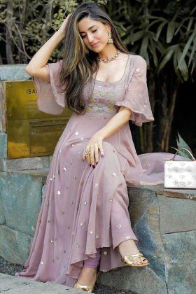 Dusty Rose Light Purple Georgette Anarkali Beautiful Fancy Thread Work Gown