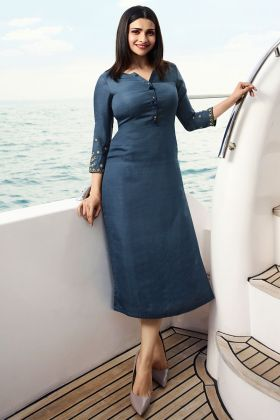 Dusty Blue Color Zari Work Kurti