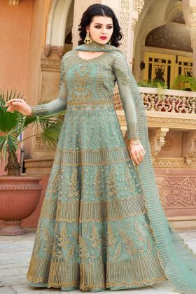 Dusty Green Net Indo Western Salwar Kameez With Jari Embroidery Work