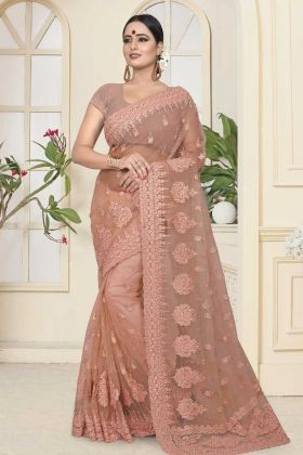 Dusty Peach Color Net Wedding Saree With Resham Embroidery Work