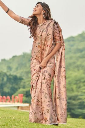 Dusty Peach Color Printed Work Manipuri Silk Casual Saree
