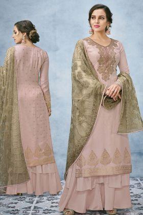 Dusty Pink Banarasi Jacquard Silk Suit