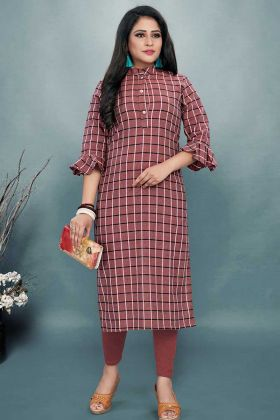 Dusty Pink Color Cotton Kurti With Printed Work