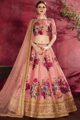 Dusty Pink Digital Printed Art Silk Circular Lehenga Choli
