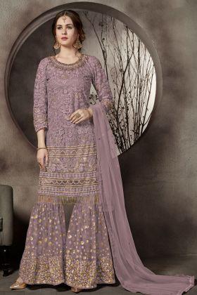 Dusty Purple Color Net Sharara Style Salwar Suit