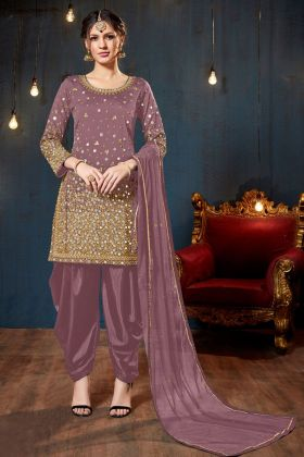 Dusty Purple Color Tafeta Silk Patiala Salwar Suit