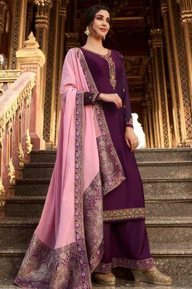 Eid Sale Dark Purple Satin Georgette Plazo Suit