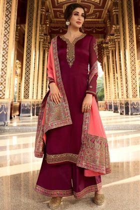 Eid Special Dress Satin Georgette Wine Palazzo Suit