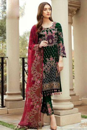 Eid Special Faux Georgette Green Pakistani Salwar Suit