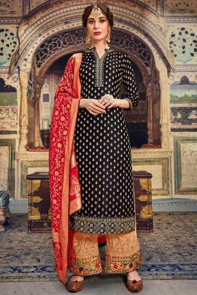 Eid Special Black Color Banarasi Jacquard Palazzo Suit Embroidery Work With Net Dupatta