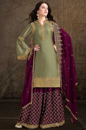 Eid Special Designer Satin Fabric Olive Green Palazzo Suit