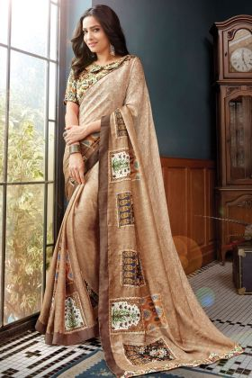 Elegance Beige Color Floral Printed Georgette Saree