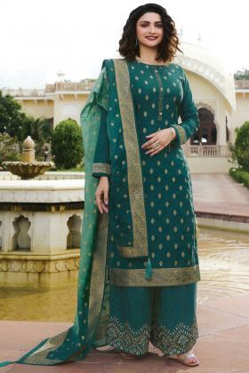 Elegant Blue Jari Embroidery Suit In Jacquard Silk Fabric