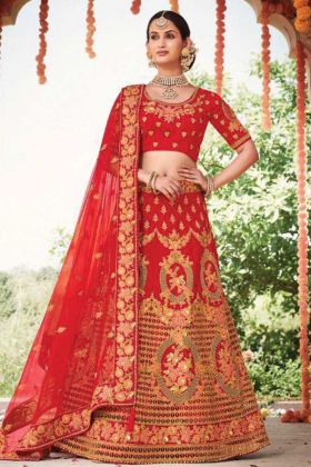 Elegant Collection In Red Color Silk Fabric Lehenga Choli For Bridal