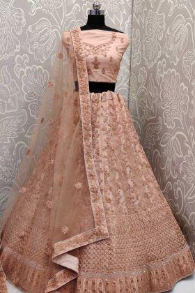Elegant Collection Peach Bridal Net Lehenga Choli For Indian Bridal