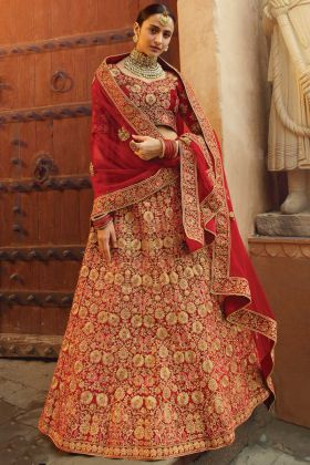 Elegant Collection Red Pure Velvet Lehenga Choli For Indian Bridal