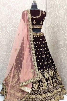 Elegant Collection Wine Lehenga Choli For Indian Bridal