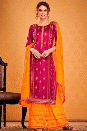Elegant Dark Pink Cotton Silk Salwar Suit In Sequence Work