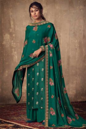 Elegant Jacquard Silk Teal Green Salwar Suit In Thread And Jari Work