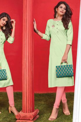 Elegant Light Green Color Cotton Thread Embroidery Kurti