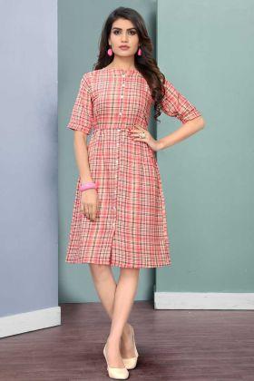 Elegant Look Casual Wear Pink Rayon Printed Kurti