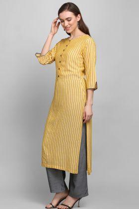 Elegant Look Casual Wear Yellow Rayon Printed Kurti
