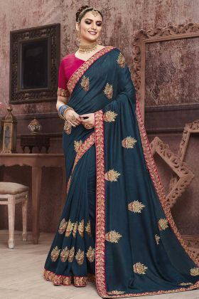 Elegant Look With Navy Blue Soft Art Silk Saree