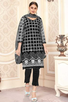 Elegant Looking Black Color Butterfly Net Pakistani Salwar Dress