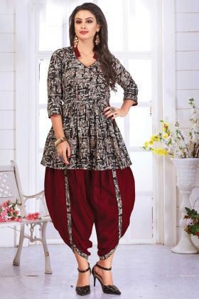 Elegant Looking Readymade Multi Color Top With Maroon Dhoti Set