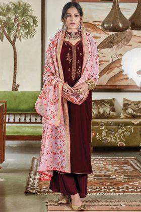 Elegant Maroon Embroidred Suit In Falcon Velvet Fabric
