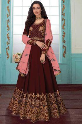 Elegant Maroon Georgette Anarkali Salwar Suit