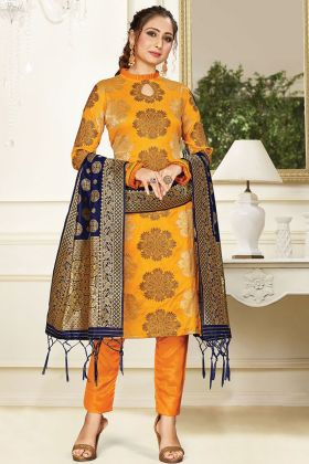 Elegant Musturd Yellow Banarasi Art Silk Weaving Salwar Suit