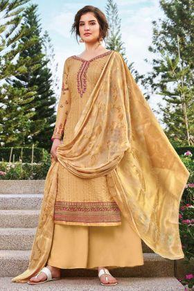 Elegant Occure Yellow Color Tussar Art Silk Salwar Suit