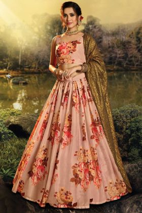 Elegant Pure Organza Peach Color Party Wear Lehenga Choli